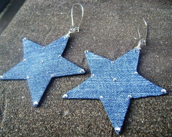 Denim Earrings- Denim Star Rhinestone