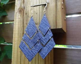 Denim Earrings- Denim Chevron Jean Earrings