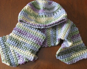Multicolored ladies / Girls Crocheted Hat and Scarf / neck warmer - Watercolor