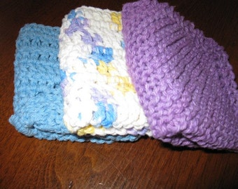 Set of three different dish clothes - 1 knitted, 2 crocheted plus free pot holder