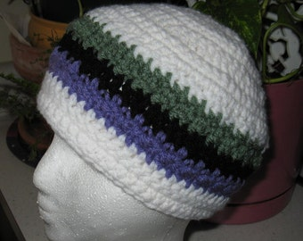 Crocheted hat / skull cap / beanie  for adult - white with green, purple and black stripe