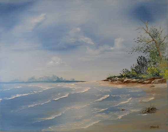 Wash Away Your Troubles Original Seascape Oil Painting on 11 x 14 Canvas, Signed -- Beach, Ocean, Sand