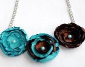 Teal/Brown Pearls and Petals Necklace