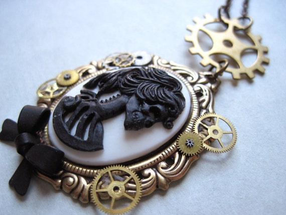 Wells' Legacy. Steampunk. Skeleton. Cameo. Victorian. Clockwork. Goth. Clockpunk. Clock Gear. Brass. Vintage. Necklace.