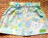 Pretty Riley Blake Cream & Aqua100% Cotton Skirt Paisley Floral Design SIZE 2 - 3 YEARS UK