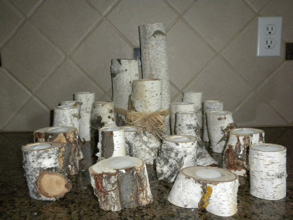 White Birch Votive Candle Holders Perfect for Weddings, Christmas Decorations, Centerpieces