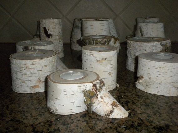 13   Mixture White Birch Candle Holder Perfect for Weddings, Centerpieces