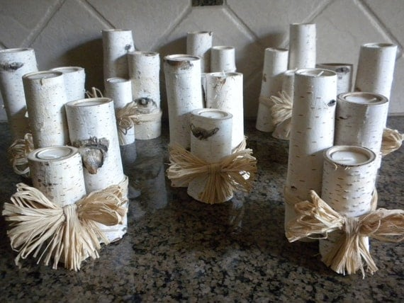 8  Sets of 3 White Birch Mini Votive Candle Holders