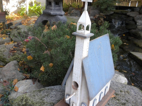 Country Primitive Church Birdhouse Perfect For Wedding Gift or Anniversary Custom and made to Order