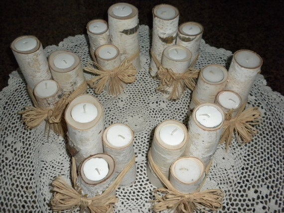 6 Sets of 3 White Birch Tealite Candle Holders Perfect for Weddings, Christmas Decorations, Centerpieces