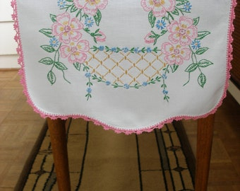 Vintage hand-embroidered table runner, pink flowers with basket, crocheted edge, circa 1940 -- free shipping