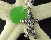 Voodoo Doll Necklace With Green Sea Glass