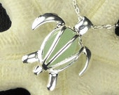 STERLING SILVER Turtle Locket With Genuine Aqua Sea Glass Necklace