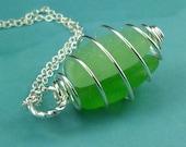 SALE Sea Glass Pendant Necklace Cage Locket