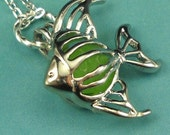 Sea Glass Necklace Angelfish Locket Green