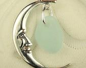 Sea Glass Necklace Moon Pretty Aqua Sterling Silver