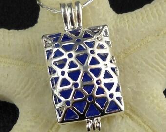 SALE Cobalt Blue Sea Glass Locket Necklace