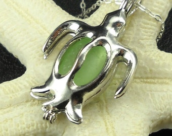 Genuine Seaglass  Necklace Sea Foam Turtle