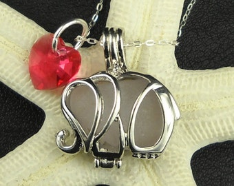 Exclusive STAINLESS STEEL Genuine Sea Glass Necklace - Pink Elephant Jewelry Silver Locket With Heart Crystal