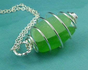 SALE Sea Glass Pendant Necklace Cage Locket