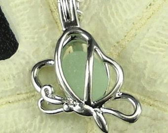 Butterfly Necklace With Aqua Sea Glass Jewelry Silver