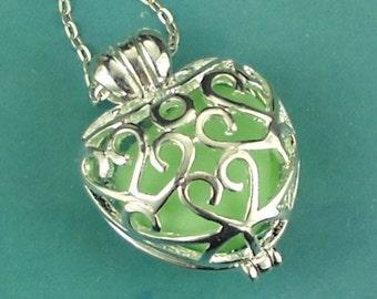 Sea Glass Necklace Heart Locket RARE Green Milk Glass