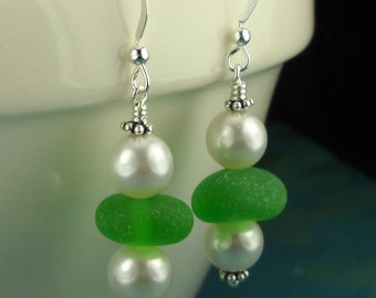 Kelly Green GENUINE Sea Glass Earrings With Pearls