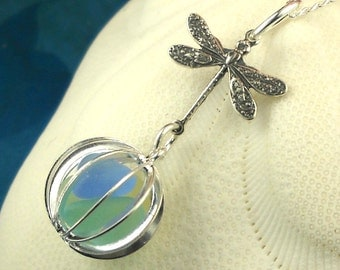 Dragonfly GENUINE Sea Glass Necklace