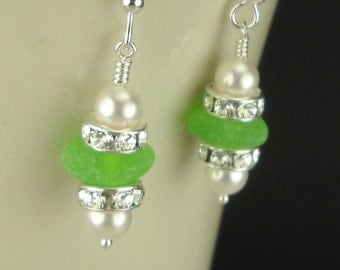 Sterling Silver Lime Green Genuine Sea Glass Dangle Earrings