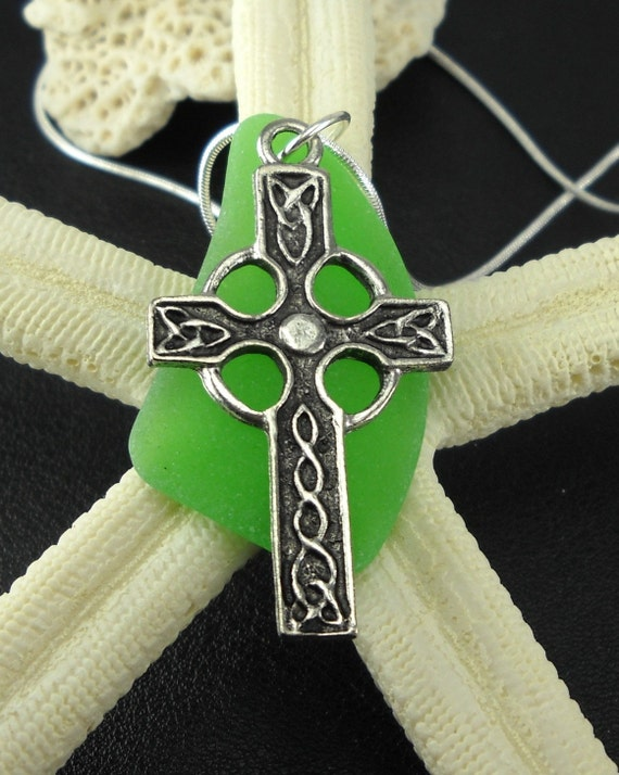 Celtic Cross And Sea Glass Pendant Necklace Kelly Green