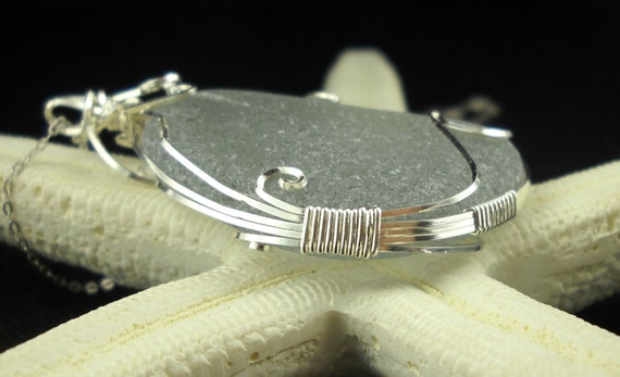 Wire Wrapped Sea Glass Pendant Argentium Silver RARE Gray