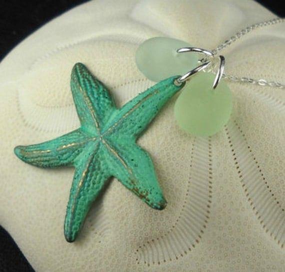 Starfish Necklace Seaglass Aqua And Sea Foam