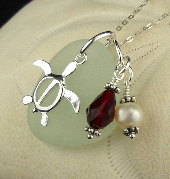Sea Glass Jewelry Turtle Necklace With Pearl And Swarovski  Crystal