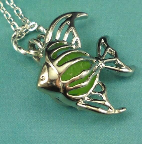Sea Glass Necklace Angelfish Locket Green
