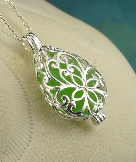 Sea Glass Necklace Kelly Green Filigree Locket