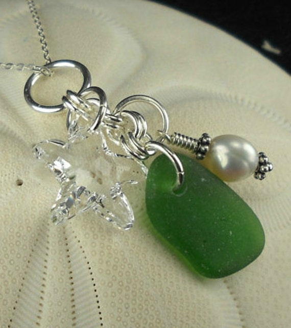 Cluster Sea Glass Pendant Necklace Sterling Silver