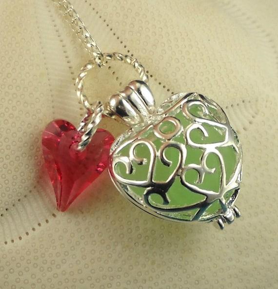 GENUINE Sea Glass Necklace Heart Locket Sea Foam