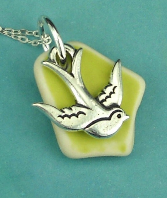 Sea Glass Jewelry Sea Pottery With Swallow