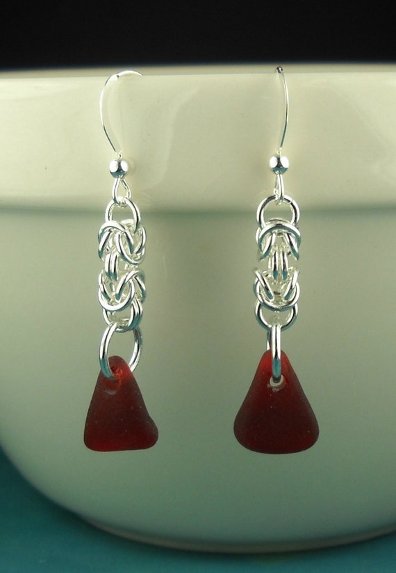 Red Sea Glass Earrings Sterling Silver Chainmaille