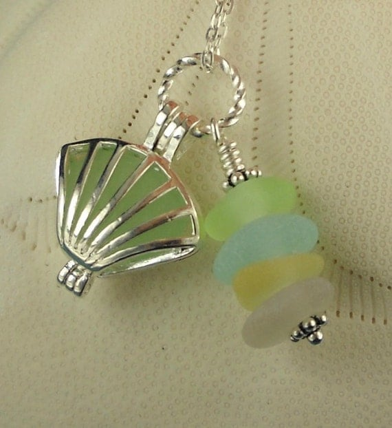 Shell Necklace Sea Glass Locket Necklace Shell In Pastels