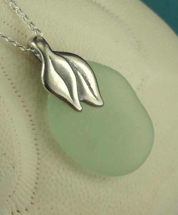 Beach Jewelry  GENUINE Aqua Sea Glass Necklace
