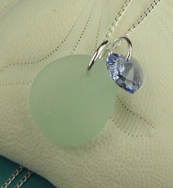 Aqua Sea Glass Necklace With Swarovski Heart