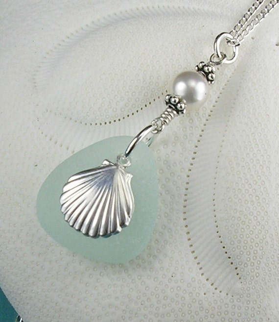 Sea Glass Necklace Aqua With Pearl And Sea Shell Sterling Silver
