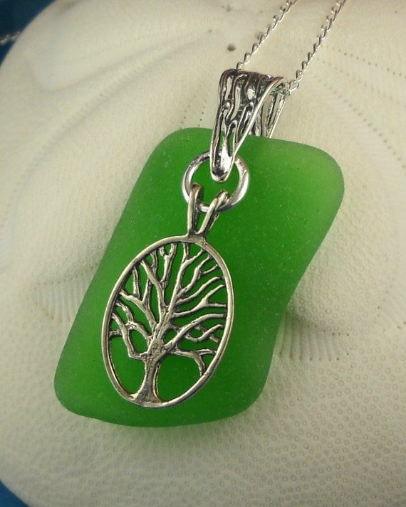 Sea Glass Necklace Green Tree Of Life Sterling Silver