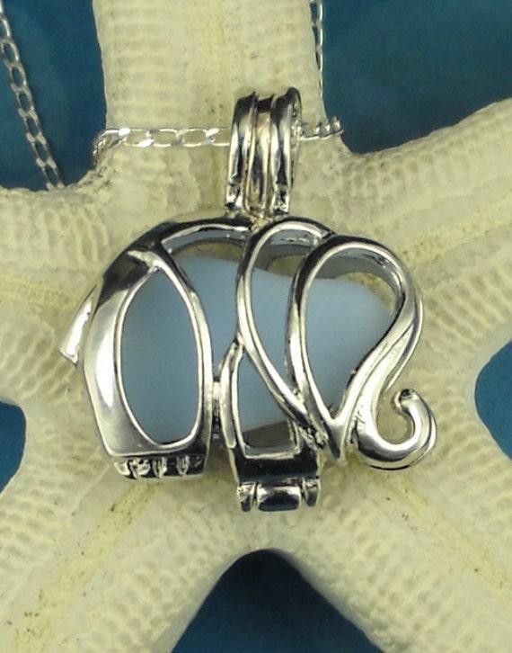 Sea Glass Necklace Elephant Locket Baby Blue Milk Glass