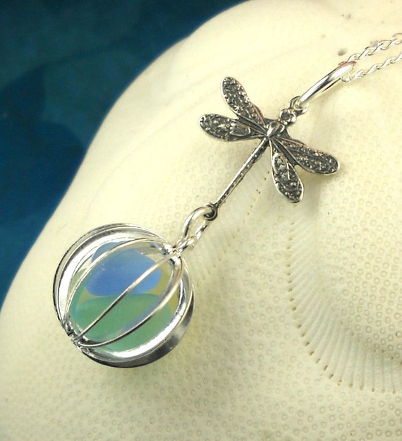 Dragonfly Necklace, GENUINE Sea Glass Necklace, Boho Jewelry, Beach Glass Necklace, Beach Necklace, Gift For Her, Locket Necklace, Seaglass