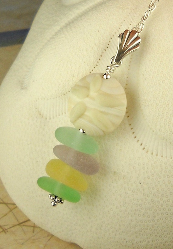 Sand Dollar And Sea Glass Necklace Pastels