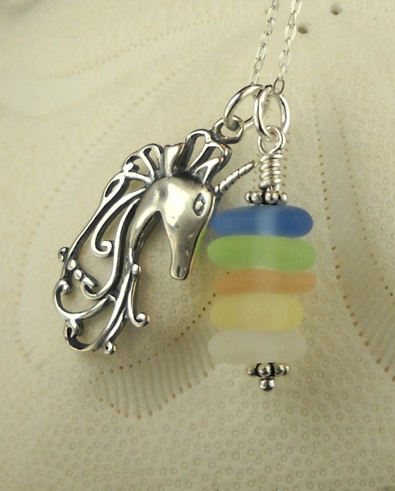 GENUINE Sea Glass Necklace Sterling Silver With Unicorn Pastel Stacker