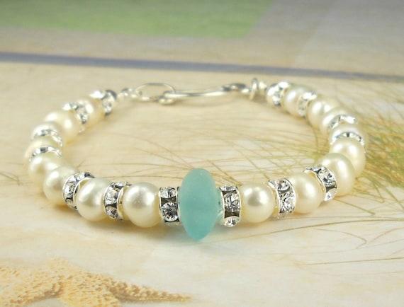 Genuine Pearl And Aqua Sea Glass Bracelet