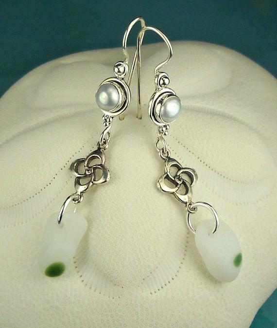 Santa Cruz Sea Glass Earrings RARE White and Green